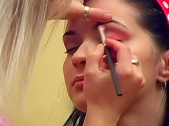Sexy eyes girl in makeup chair