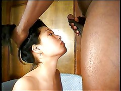 Cute asian deep throats a big black cock