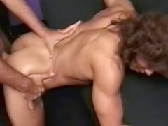 Shy and muscular Kitana Steele is sucking huge meat stick