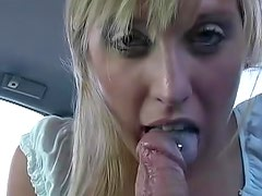 Coche - Hot Cory with super small tits is doing blowjob in the car