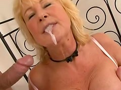 Adorable and old Regina is swallowing fresh sperm after blowjob