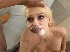 Erica Fontes gets her face plastered with hot cum