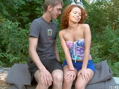 Avina gives this horny stud her tight teen pussy