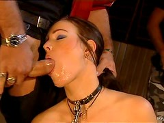 Naughty Brunette Takes Two Dick With No Problem