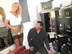Big cock slides into splendid office milf