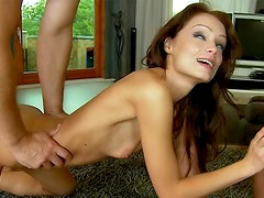 Skinny slut with cock in ass and mouth