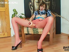 European hussy Alice got superb legs and awesome red pantyhose stockings