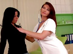 Strap on fun with a hot doctor and her patient
