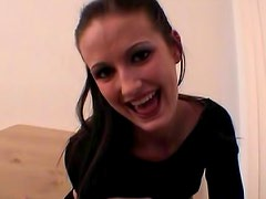 Amateur brunette Hailey Young in black pantyhose is here to have deep sexual intercourse