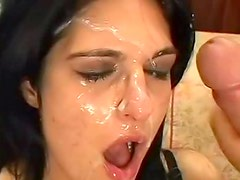 Cum covered face after DP sex