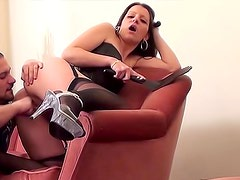 Leather corset on this fucked hottie