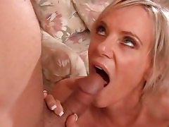 Gorgeous Cara Lott gets her mouth filled with thick cum