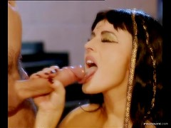 Egyptian Babe Sandra Russo Getting Her Pussy Worshiped By a Servant
