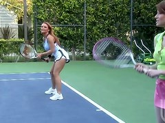 Blonde MILF Janet Mason Fucks The Tennis Instructor On The Court