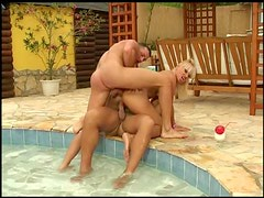 Blonde Milf Has A Hardcore Threesome Outdoors At The Pool