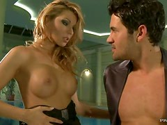 Blonde Beauty Cindy Hope Blindfolds Her Man To Give Him a Blowjob