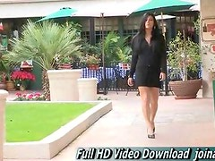 Marletta Sexy brunette walking rather short dress