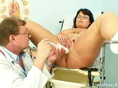Aged Daniela has her massive tits checked by gyno Doctor