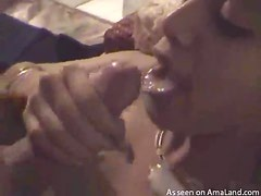 Horny chick giving a blowjob and taking a cumshot
