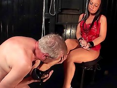 Dominatrix toilet play with sub guys