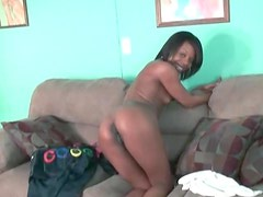 Cute black teen with tight body strips