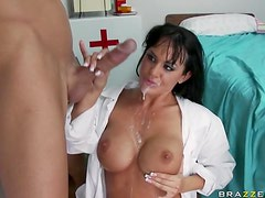 Deep Throated Brunette Doctor Savannah Stern Gets a Facial In Stockings