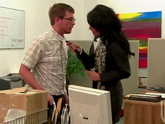 Horny Brunette Cougar Persia Pele Fucking The Post Guy In The Office