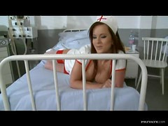 Horny Brunette Nurse Fucked By Patient and Doctor
