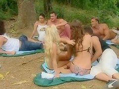 Awesome Outdoors Orgy With Four Gorgeous Babes