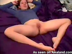Shaved pussy babe spreading her legs open