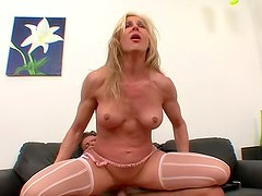 Gorgeous blonde Kelly Estelle with natural tits is here to have bang with her horny bastard