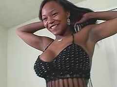 Black chick with fake boobies nailed