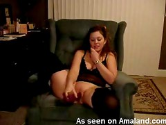 Brunette in sexy lingerie phone sex and toy sex