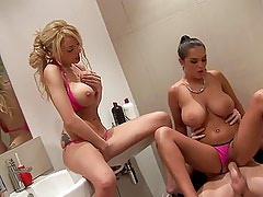 British blonde slut in another FFM threesome in the shower