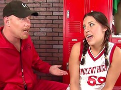 Sporty teen fucked by the gym teacher
