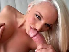 Cocksucking young blonde rides bone in POV