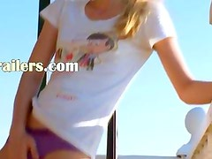 Petite coed toying pussy on the balcony