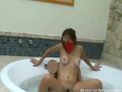 Asian chick getting fucked in the tub