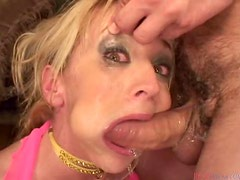 Kelly Wells gets mouth-fucked and enjoys cum on her face