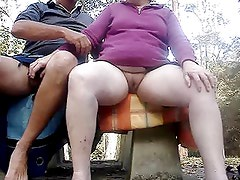 Masturbating together outdoors on a wet day