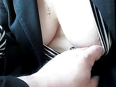 Touching her tits, panties and stockings in a train