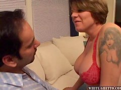 Busty milf Kayla Quinn enjoys sucking and riding a cock and gets a creampie