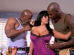 Vicious Brunette Cougar Sienna West Fucks Two Black Cocks In a 3some