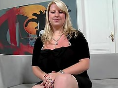 Fat and incredible blonde Janne Hollan is showing her giant boobies indoors