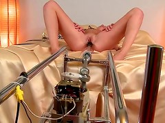 Toy machine inside moaning blonde