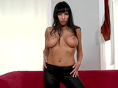 Gorgeous and slutty brunette Marta in black panties is posing her sexy body