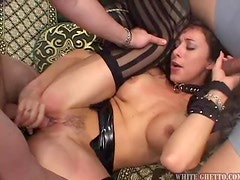 Kay Lynn sucsk and rides two hard pricks and gets an anal creampie