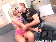 Cute blonde teen in heels foreplay fun