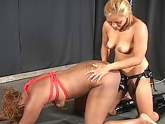 Ebony slave with natural tits wants her white babe to drill her love tunnel from behind