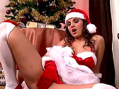 Eva Angel masturbation in Christmas lingerie